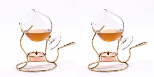 Old Dutch 7 by 4-Inch Brandy Warmer with Tea Light and Glass Snifter Copper Set 2