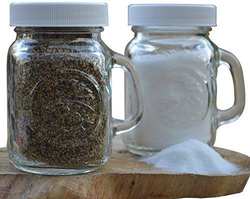 Golden Harvest Ball Mason Jar Glass Salt and Pepper Shakers Clear Set of 2