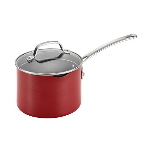 Circulon Genesis Aluminum Nonstick 3-Quart Covered Straining Saucepan Red