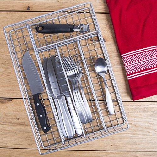 14 Metal 5 Section Flatware Organizer- Cutlery Tray Nickel Flatware Drawer Organizer