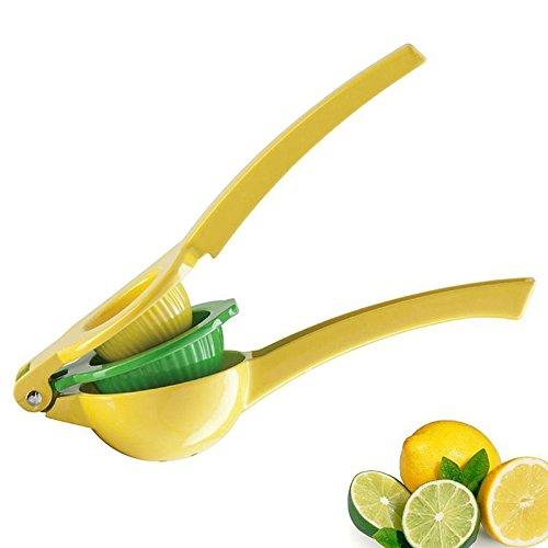 Kitchen Tools Lemon Lime SqueezerPremium Quality Metal 2-bowl-in-1 Manual Citrus Press Juicer Fruit Orange Lemon Tomato Fruit Vegetable Reamers Fast Handle Press ToolYellow Green