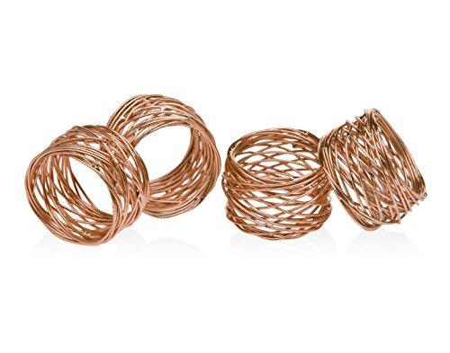 Godinger Silver Art Copper-plated Round Mesh Napkin Holder Rings Set of 4