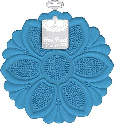 Talisman Designs No-Slip Grip Hot Pad Pot Holder Trivet BPA-free Silicone Blue 75 Diameter