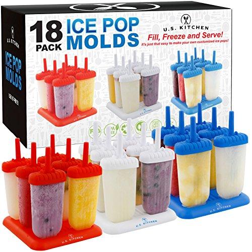 US Kitchen Supply 18-Piece Classic Reusable Jumbo Ice Pop Mold  Set