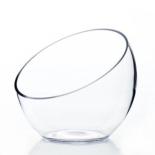 WGV Clear Slant Cut Bowl Glass Vase Glass Terrarium Candy Dish Floral Glassware Slant Open 7 Height 6 x 27 Base 4 1 Piece
