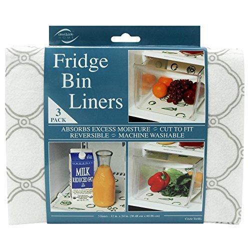 Envision Home Fridge Bin Shelf Liners 3 Trellis 3 Piece