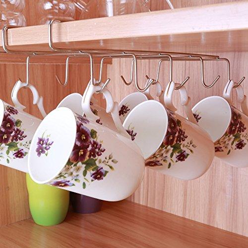 10 Hook Mug Holder Under Shelf Mug Hooks Mug Rack Hanger Coffee Cup Holder Drying Rack for Kitchen Hanging Organizer Rack-Cabinet Hanging Tie Belt Organizer Rack