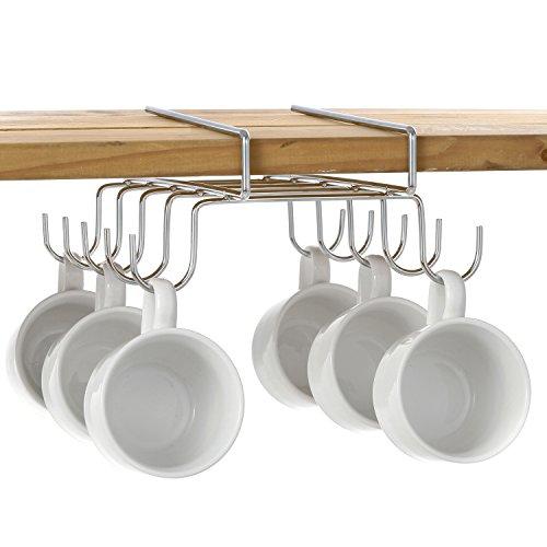10 Hook Under-the-Shelf Mug Rack Metal Coffee Cup Storage Holder Drying Rack Silver