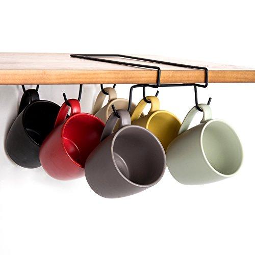 6 Hook Under-Shelf Black Metal Mug Rack Coffee Cup Holder