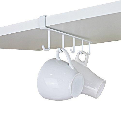 GeLive Under Cabinet Coffee Mug Hook Holder Kitchen Storage Hanger Drying Rack Utensil Organizer White