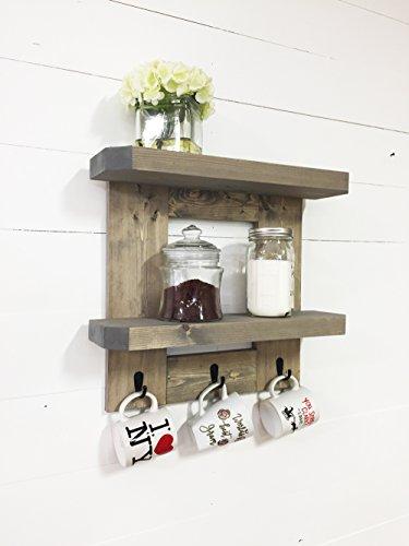 Rustic Wooden Kitchen Shelf  Coffee Shelf with Mug Hooks by Mountain Creek Woodworks Classic Gray