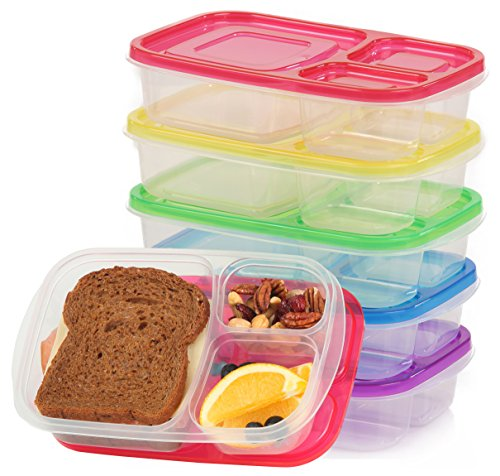Qualitas Products Premium Kids Bento Boxes - 3 Compartments 5 Bento Box Microwave Safe Lunch Leftover Containers Set for Kids and Adults - Made From US FDA Approved Food Grade Plastic