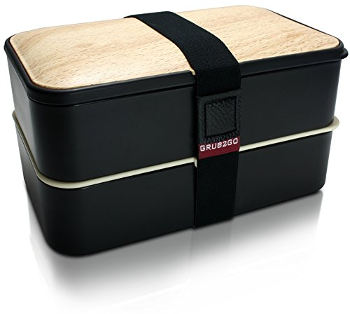 THE ORIGINAL Bento Box by GRUB2GO w FREE Ideas Guide  Utensils - Leakproof Lunch Container - BlackWood