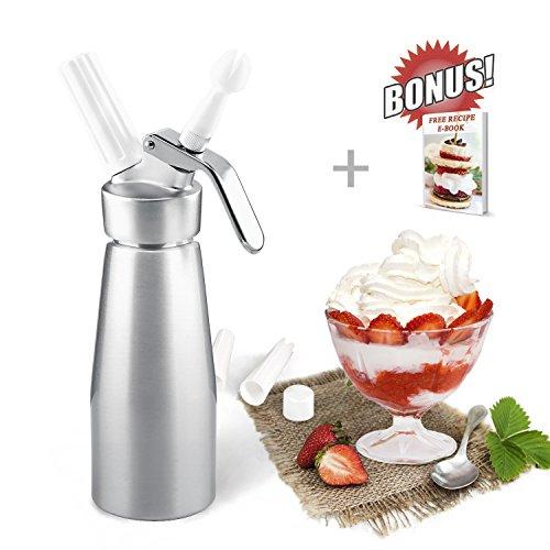 ZOEMO Professional Grade Aluminum Whipped Cream Dispenser Cream Whipper With Sturdy Aluminum Body And Head - Half Pint Whipper Creates 2-3 Pints of Fresh Whip Cream
