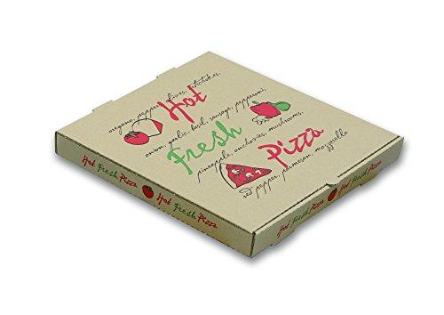 W PACKAGING WPPB14K2 Pizza Box Hot Fresh Pizza Print B-Flute 2 Deep 14 Kraft Pack of 50