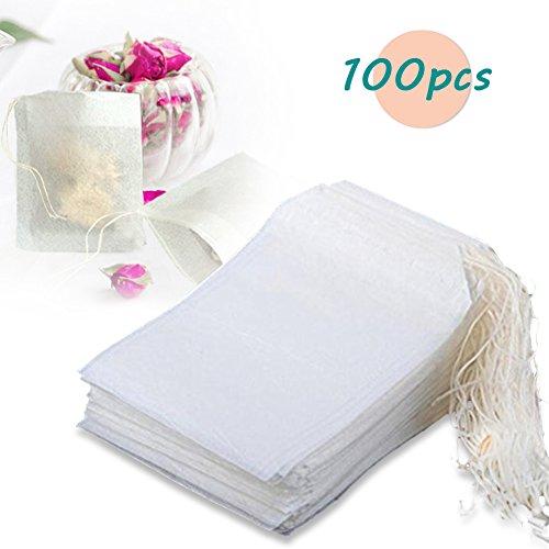Thiroom 100pcs Disposable Filter Empty Teabags Drawstring Herb Loose Tea bag
