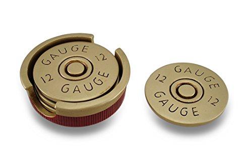 Four Piece 12 Gauge Shotgun Shell Coaster Set W Base
