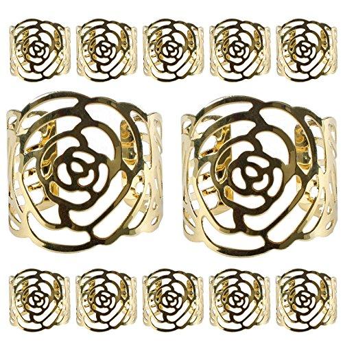 KAKOO Napkin Ring 12 Pcs Hollow Out Rose Design Metal Napkin Holder for Wedding Party Dinner Table Decor Gold