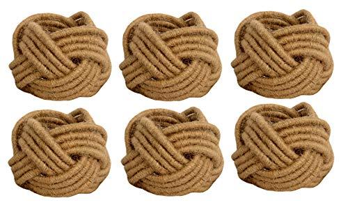 Kaizen Casa Set of 6 Classic Braided Jute Burlap Napkin Rings Cream 6