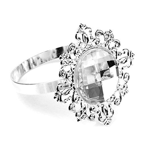 ROSENICE 12pcs Crystal Napkin Rings Silver