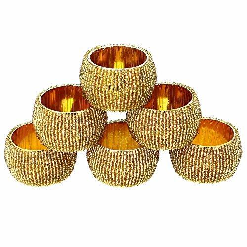 Shalinindia Handmade Indian Gold Beaded Napkin Rings Set of 6