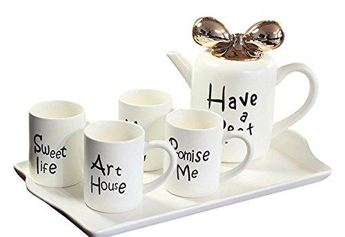 Jusalpha Modern Stylish Tea and Coffee Serving set Tea pot and 4 mugs set White