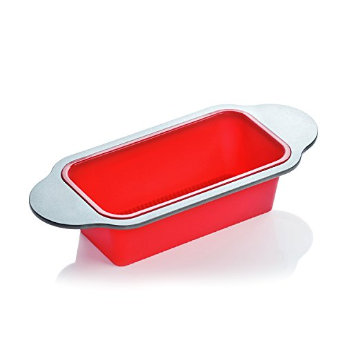 Meatloaf and Bread Pan  Gourmet Non-Stick Silicone Loaf Pan by Boxiki Kitchen  for Baking Banana Bread Meat Loaf Pound Cake  85 FDA-Approved BPA-free Silicone Steel Frame  Handles