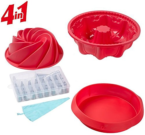 Cake Decorating Supplies 36pcs Set including Red Large Spiral shape Cake Pan Non-Stick Silicone 6 Cup Bundt Pan9-Inch Round Cake Pan Baking Mold