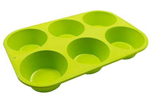 Marathon Housewares KW200016GR Premium Silicone 6 Cup Jumbo Muffin or Cupcake Pan Green