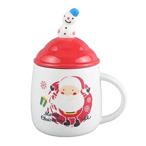 Neolith Christmas Coffee Mug Ceramic Tea Mugs with Lid Spoon with Cute Snowman Figure Christmas Gifts Santa Coffee Mug 12 oz Santa Claus