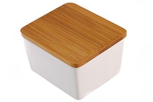 Countertop Ceramic Salt Box with Bamboo Lid