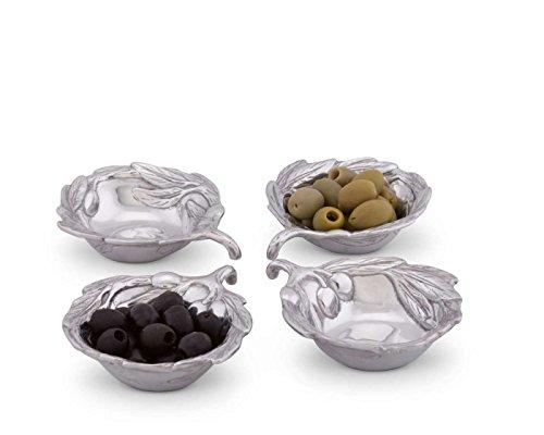 Arthur Court Sand-Cast Aluminum Set of 4 Sauce Bowls Olive Pattern