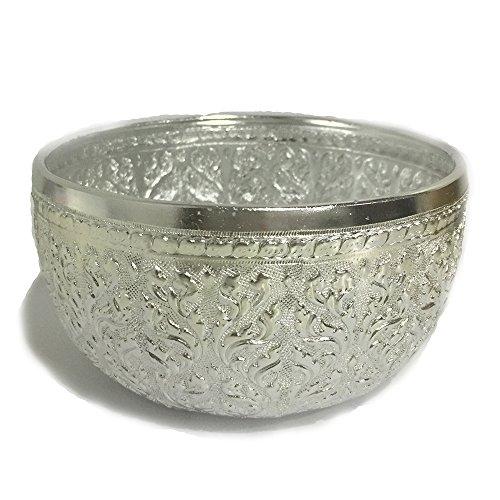 Vintage Mulltifuntional Aluminum Bowl Thai Traditional Design 5 Inch Diameter