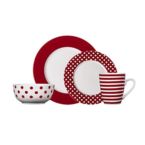 Pfaltzgraff Kenna Red 16-Piece Porcelain Dinnerware Set Service for 4