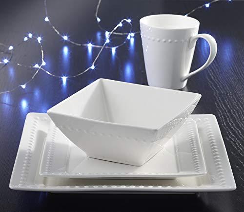 Souelle 16-piece Fine Porcelain Dinnerware Set  Ivory Hobnail Design Microwave and Dishwasher Safe - Service for 4 - Dinnerware Set Includes Dinner Plates Salad Plates Bowls and Cups Square
