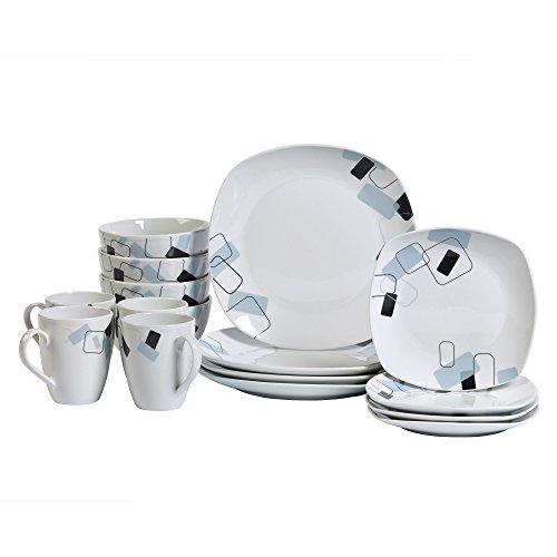 Tabletops Unlimited Dean 16pc Soft Square Porcelain Dinnerware Set
