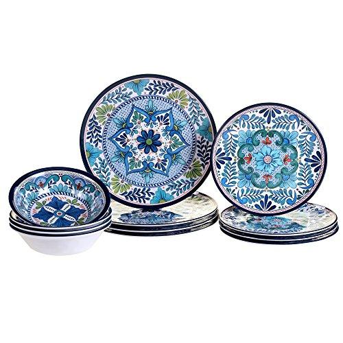 Certified International 12 Piece Talavera Melamine Dinnerware Set Multicolor