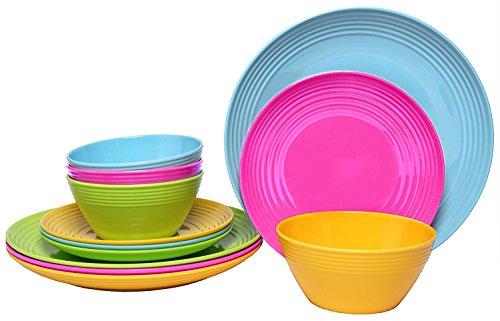 Melange 12-Piece  Melamine Dinnerware Set Solids Collection   Shatter-Proof and Chip-Resistant Melamine Plates and Bowls  Color Multicolor  Dinner Plate Salad Plate Soup Bowl 4 Each