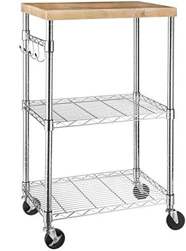 AmazonBasics Kitchen Rolling Microwave Cart on Wheels Storage Rack WoodChrome Renewed