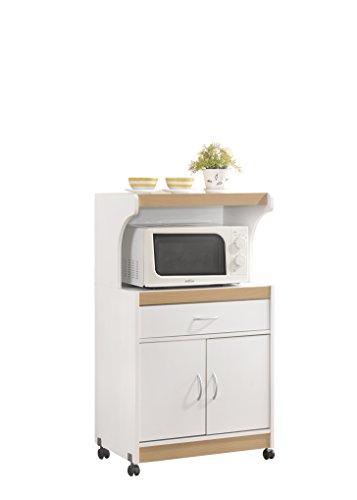 Hodedah Microwave Kitchen Cart White