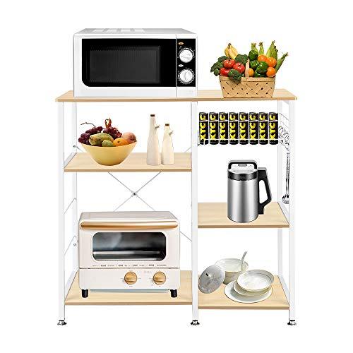 Tenozek 3-Tier Microwave Cart Kitchen Bakers Rack Wood Microwave Stand Kitchen Island Storage Cart Utility Storage Shelf with 6 Hooks White Oak White Oak