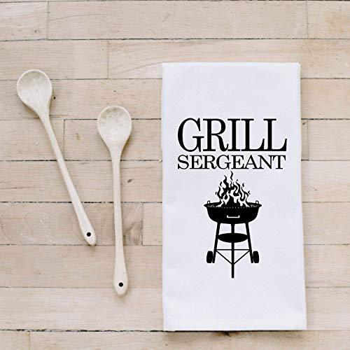 Bar Towel Grill Sergeant present housewarming mens towel kitchen decor mens gift flour sack dish cloth