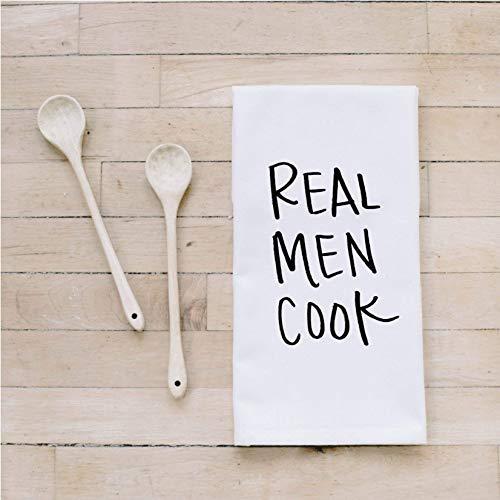 Bar Towel Real Men Cook present housewarming mens towel kitchen decor mens gift flour sack dish cloth