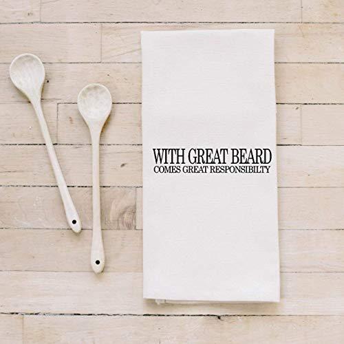 Bar Towel With Great Beard present housewarming mens towel kitchen decor mens gift flour sack dish cloth