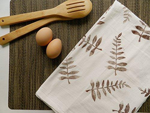 Extra Large Flour Sack Dishcloth Botanical Print Natural Decor Towel Boho Style Hostess Gift Kitchen Towels Boho Home Plants Fern Print