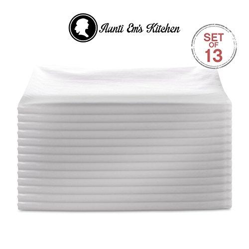 Aunti Ems Kitchen Vintage Flour Sack Kitchen Dish Towels Commercial Restaurant Grade Weave Cloth 100 Natural Cotton 27 x 27 Bakers Dozen Set of 13 White