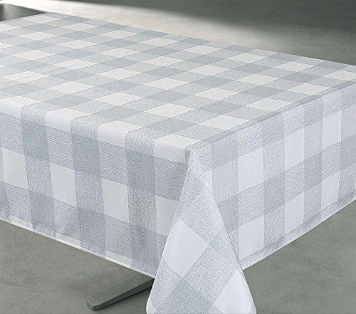 70 Inch Round Buffalo Check Print IndoorOutdoor Fabric Tablecloth - Grey