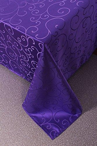 Lustre Weave Medium Weight Elegant Floral Patten Fabric Tablecloth 60x60 Bluish purple