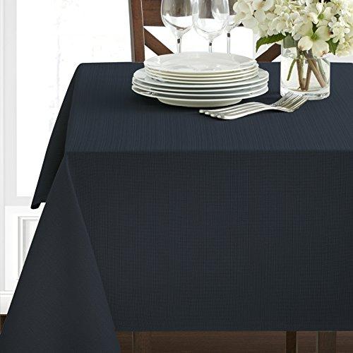 Textured Heavyweight Fabric Tablecloth Navy 60 x 120 Rectangular