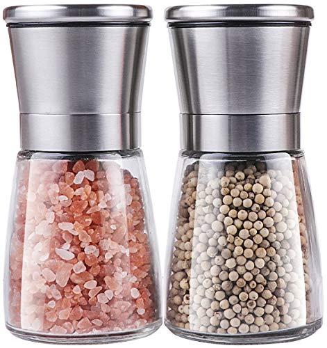 Salt and Pepper Grinder Set Trofoty Stainless Steel Adjustable Ceramic Sea Salt Grinder Pepper Mill Set Glass Salt and Pepper Shakers Pepper Mill Salt Mill Set of 2